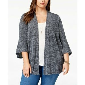 Style&Co Gray Lantern-Sleeve Open Cardigan Sweater